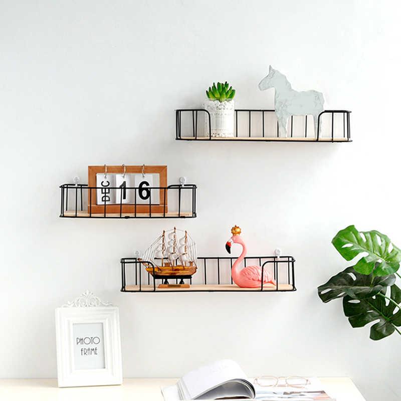 Estante de pared de hierro de madera, estante de almacenamiento montado en la pared, organizador para dormitorio, cocina, decoración del hogar, habitación infantil, estante de pared decorativo DIY