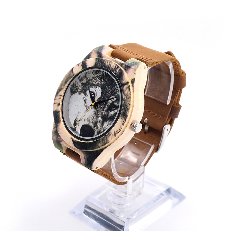 New Fashion BOBO BIRD printing Wolf Dial Bamboo Wooden Watches Genuine Brown Cow Leather Strap Analog Casual Wood Quartz Watches new lone wolf and cub v 7