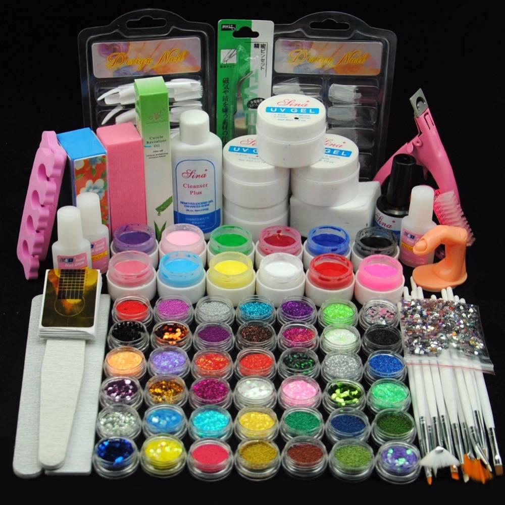 12PCS UV Gel Primer Topcoat Cleanser Plus Nail Glitter Strip Decor Nail Brush All For Manicure Nail Art Set Device For Manicure