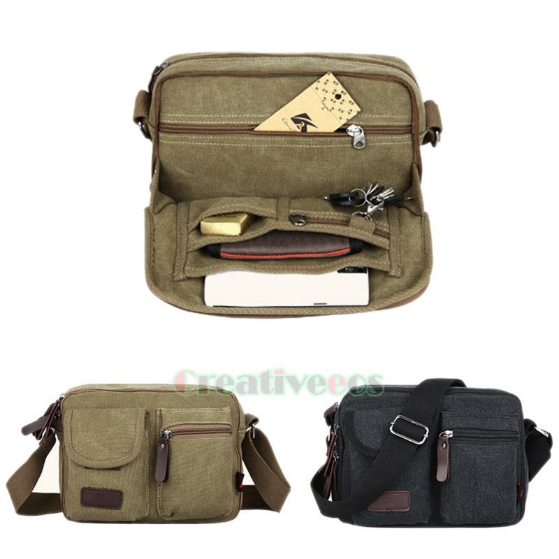Men Canvas Cross body Messenger Shoulder Casual Business Travel Tool Multi-purpose Bag