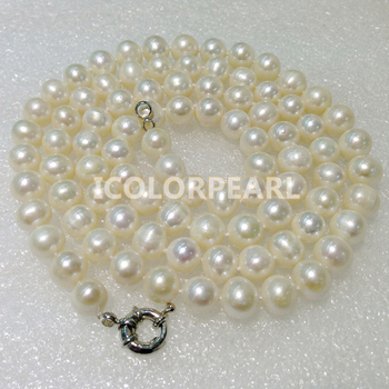 WEICOLOR 85CM  Long / 9-10MM Nearround White Freshwater Pearl Sweater Necklace.