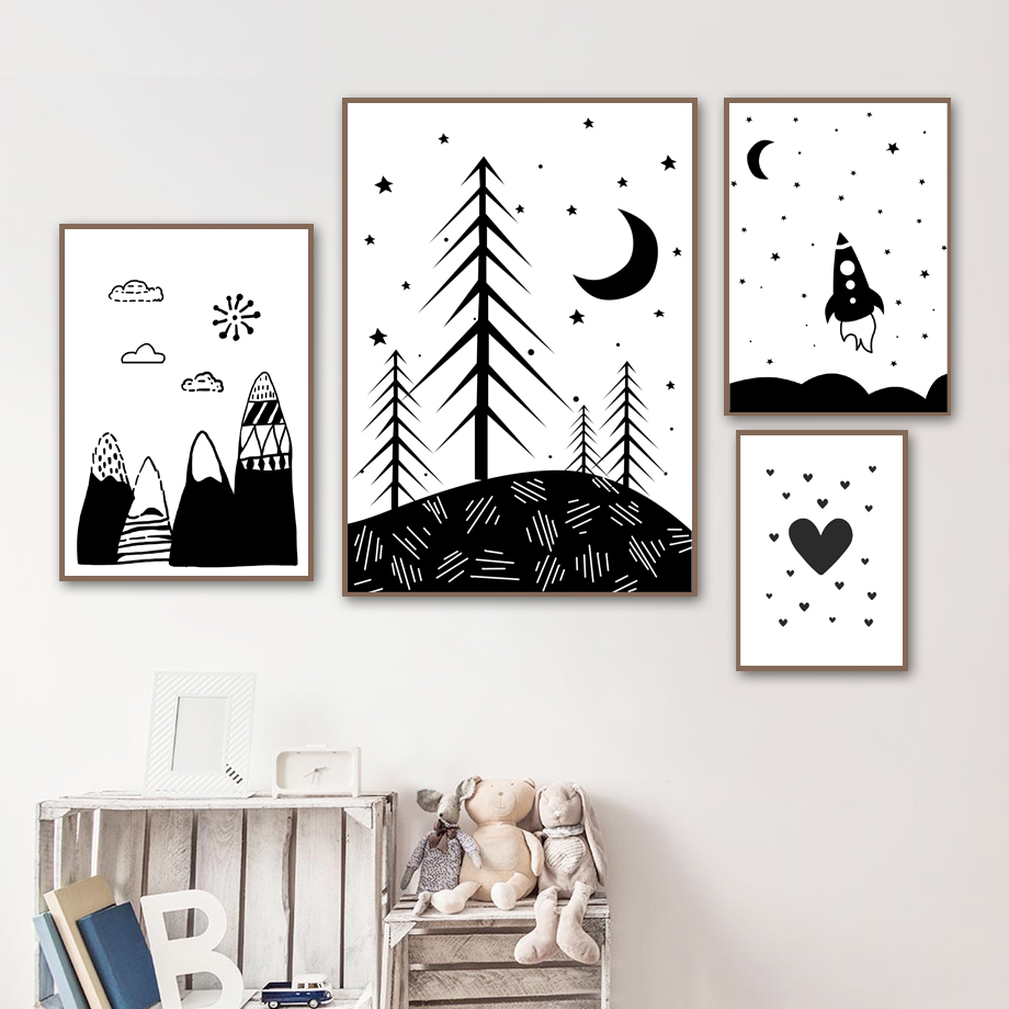 black and white part moon with stars drawing//painting print wall art