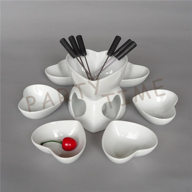 Ceramic chocolate fondue set heart shape cheese warmer fruit dish