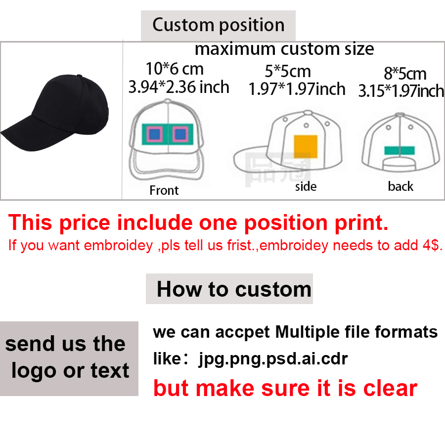 ALI shop ...  ... 32812135383 ... 4 ... Custom baseball cap print logo text photo embroidery gorra casual solid hats pure color black cap Snapback caps for men women ...