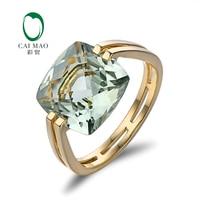 Caimao Jewelry 6.6ct Природные площади подушки зеленый Аметист 14 К Золотое кольцо Бесплатная доставка