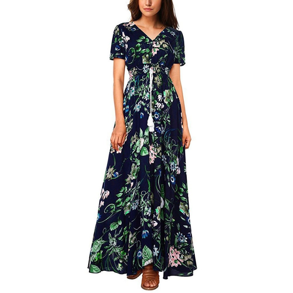 Vintage Women Button Up Dresses Fashion Ladies V-Neck Floral Printed Short Sleeve Split Party Long Dress Elegant Bohe VestidosB4
