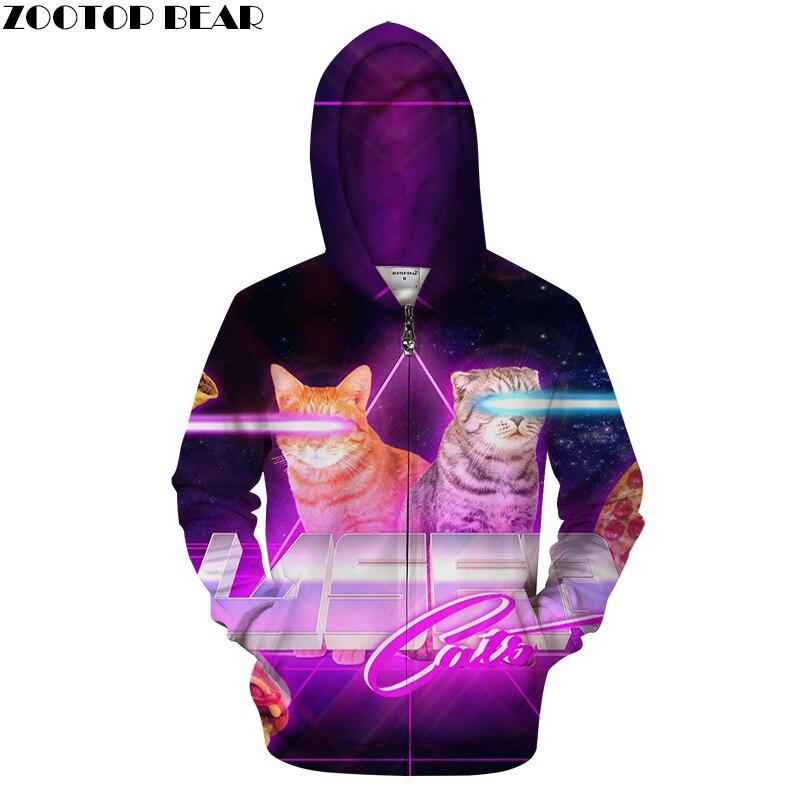 Zipper Hoodies 3d Print Cat Hooded Cardigan Men Women Sweatshirt Fashion Tracksuit Casual Hoodie Novelty Streetwear Brand Hoodie