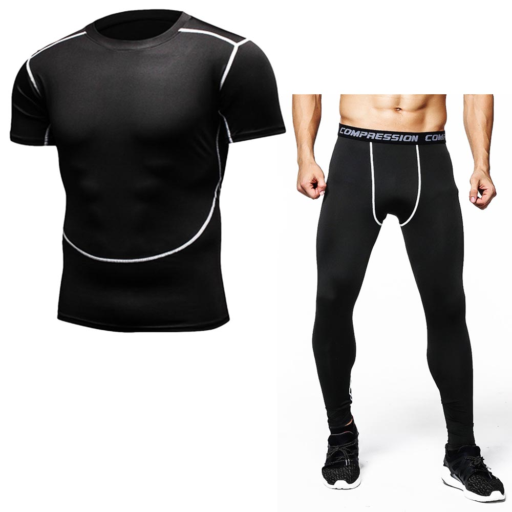 Mens T Shirt Suits Camouflage Compression Short Sleeve T-shirt + Leggings Sets Fitness Brand Clothing Quick Dry Crossfit Shirts