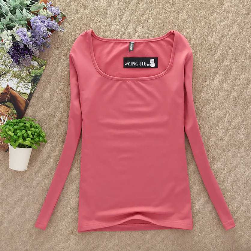 New 2018 winter T Shirt Women Long Sleeve spring Tops & tees Fashion Women basic shirt T-shirt casual candy color underware