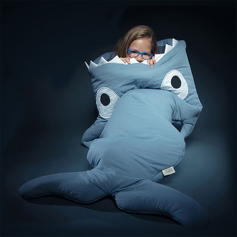 Cute Cartoon Shark Sleeping Bag For Children New Style Winter Unisex Sleepsacks Warm Cotton Blanket Large Swaddle