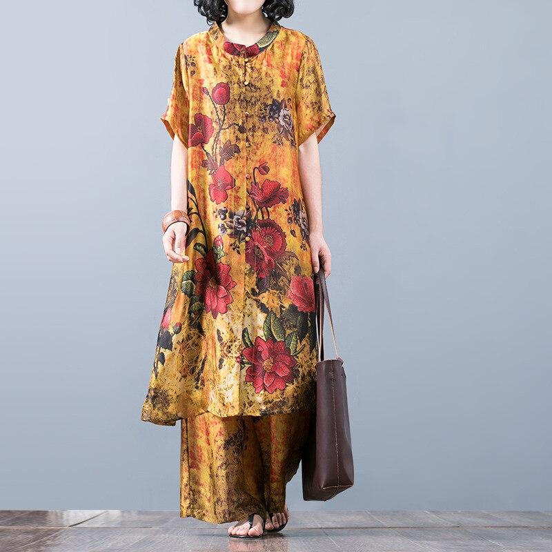 Women Printed Thin Summer Sets Elegant Retro Long Tops Elastic waist Wide Leg Pants Female Suits