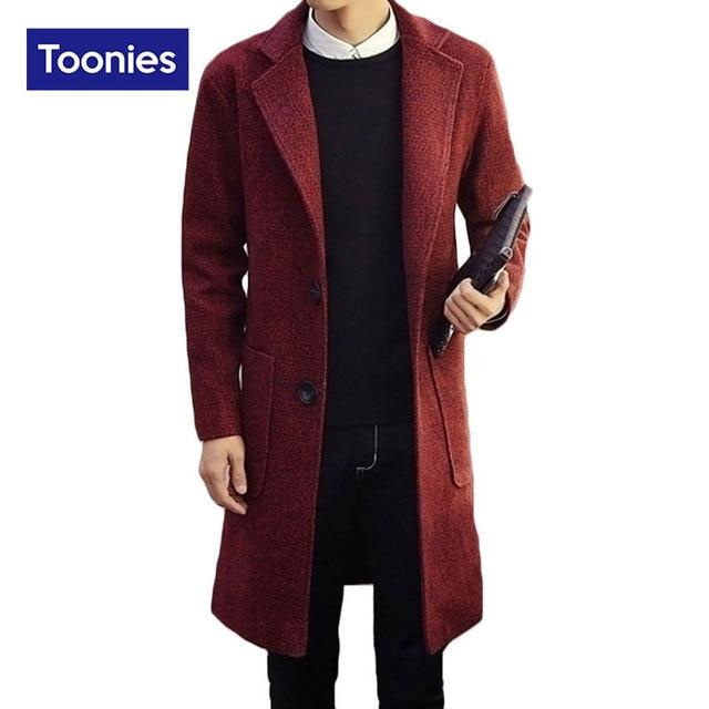 2017 New Fashion Trench Coat Men Single Breasted Long Coat Men Long Sleeved Mens Overcoat Streetwear Gabardina Larga Hombre