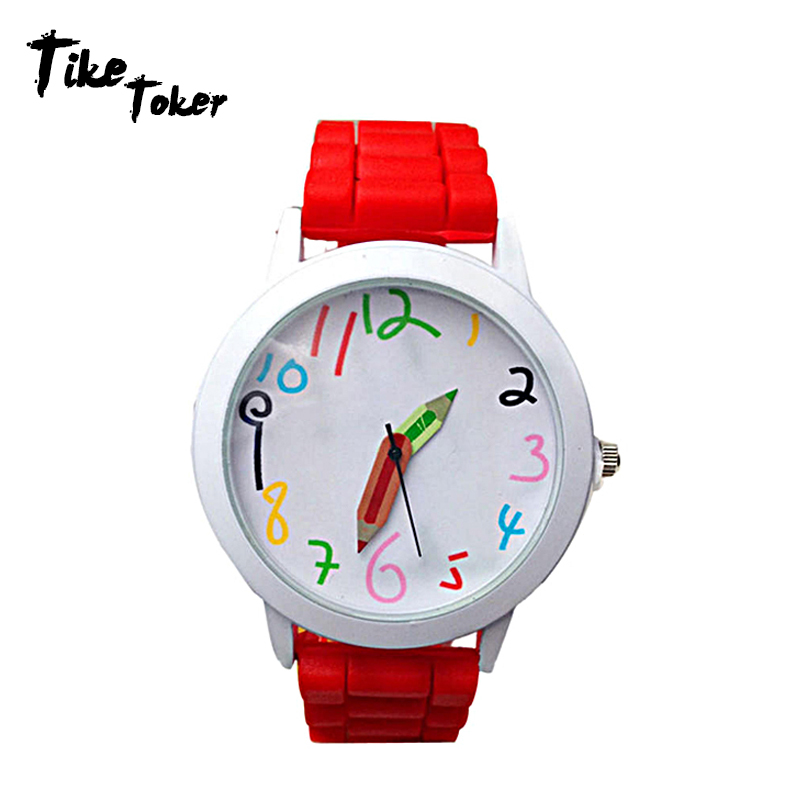 TIke Toker Brand Fashion Jelly Silicone Pencil Watch Women Wristwatch Casual Candy Color Watch Relogio Feminino