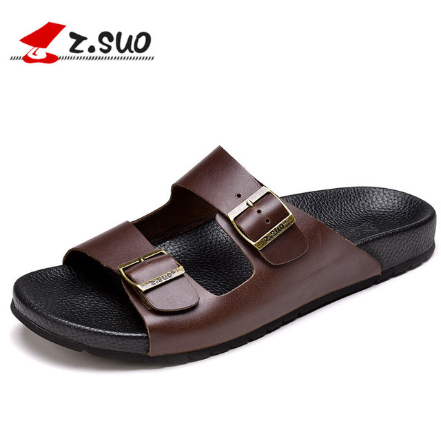 e61f12d6c8b ZSUO Brand Summer Genuine Leather Men s Slippers 2019 Fashion Metal Buckle  Non-slip Sandals Beach Shoes for Men