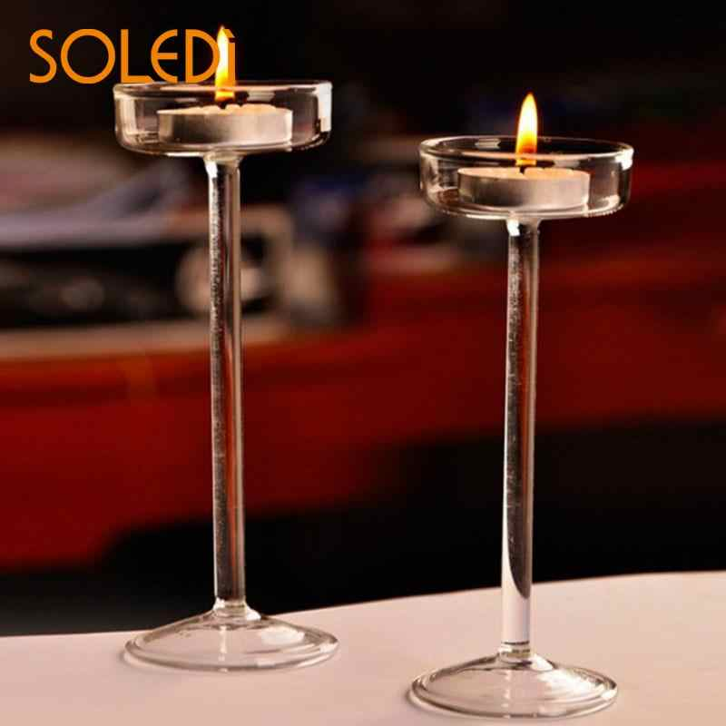 Elegant Romantic Creative Goblet Designed Glass Candle Holder Supplies