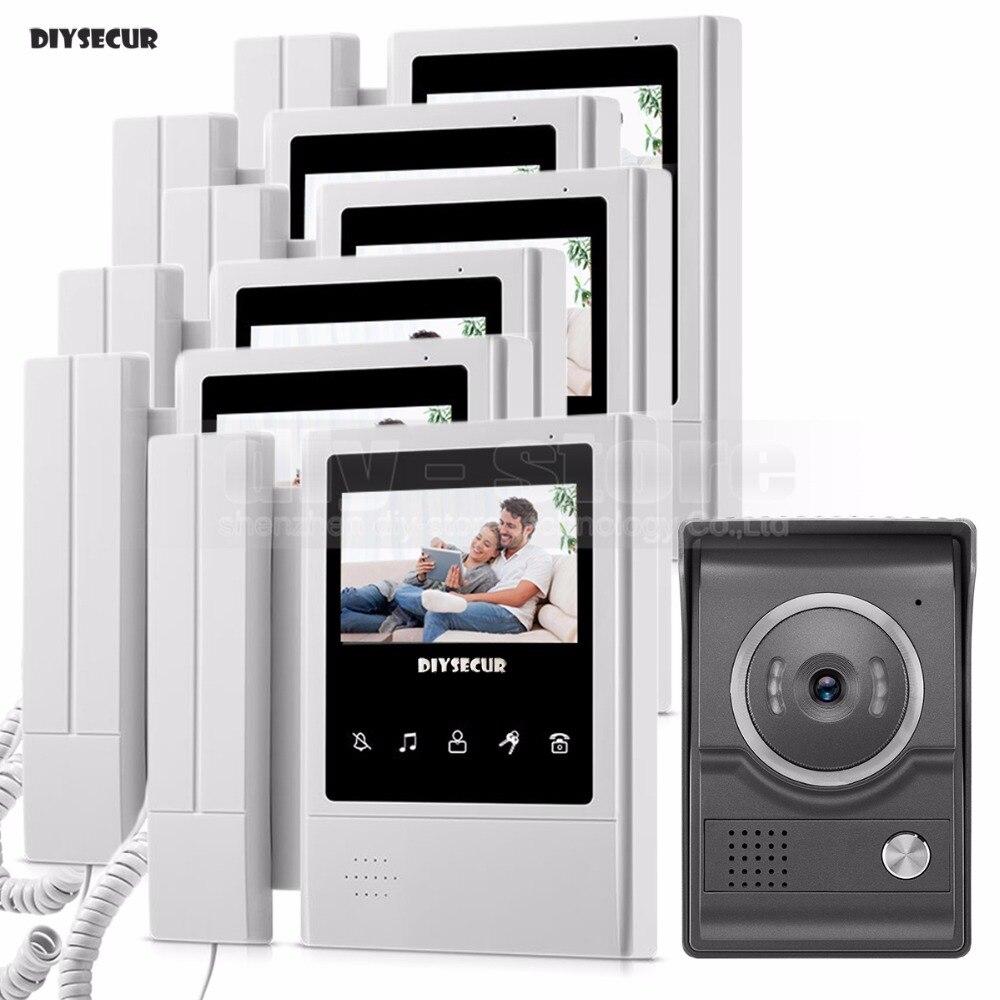 DIYSECUR 4.3inch Handheld Video Intercom Video Door Phone Doorbell 700TV Line Night Vision HD Camera for Home Office Factory 1V6