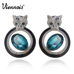 Viennois Rose Gold/Silver Color Leopard Earrings for Woman Orange & Blue Crystal Stud Earrings Female Party Jewelry