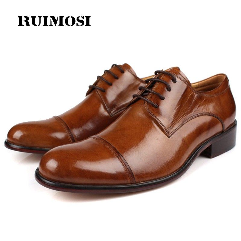 RUIMOSI Fashion Formal Man Dress Shoes Genuine Leather Designer Oxfords Round Toe Cap Top Men's Wedding Footwear For Male DF22