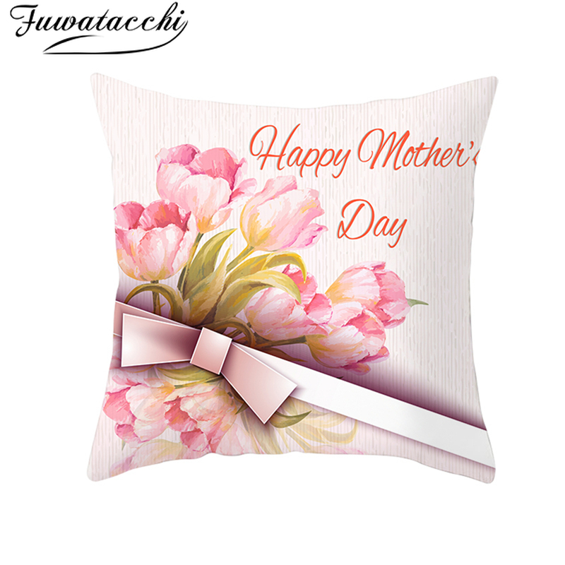 Fuwatacchi Gifts Pillowcase for Mothers Day Cushion Cover Pink Rose Gold Heart Throw Pillow Happy
