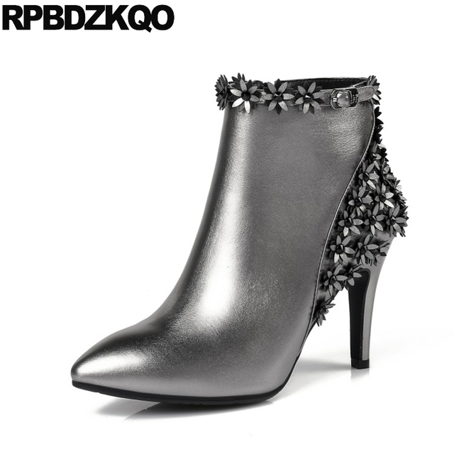 56113181897 Fall Pointy Short Luxury Brand Shoes Women Metallic Booties Belts Boots  Thin Ankle Real Leather Silver High Heel Flower Applique