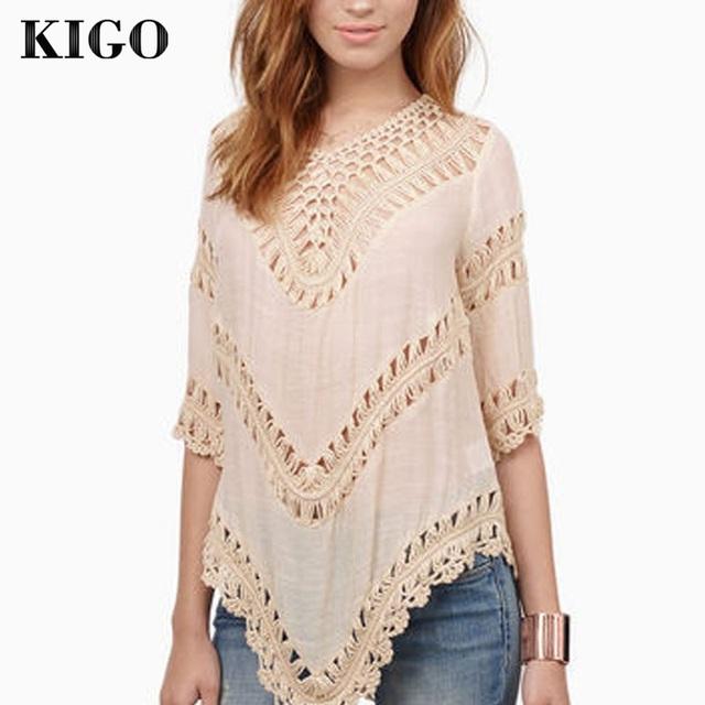 Kigo Womens Top Fashion Crochet Tops mulheres camisas blusas boêmio praia Top Boho camisa camisa mulheres Plus Size blusa A507