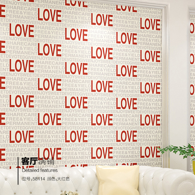 Modern Fashion Love Letter 3D Wallpaper Non Woven Embossed Papel De Pared Mural WallPaper For Wedding Decoration HS019 In Wallpapers From Home