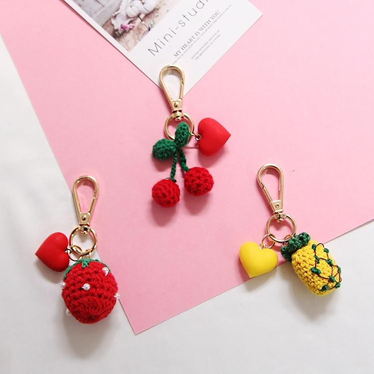 Embroidery Handmade Cherry Pineapple Strawberry Keyrings Llaveros Bag Pendant Charm Dangle Keyring Key Chain Portachiavi J37