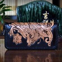 HK OLG.YAT handmade wallet men purse women bag Italian Vegetable tanned leather men wallets Hand-carved Dragon handbag retro