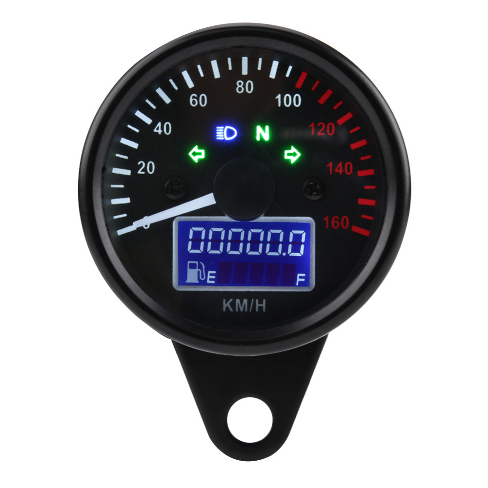 Universal Digital LCD Motorcycle Speedometer Odometer Techometer Gauge Waterproof Dual Speed meter Power Fuel Tank Display Gauge image