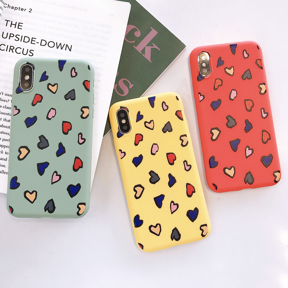 KIPX1116_8_JONSNOW Phone Case for iPhone X XS XR XS Max 6 6S 7 8 Plus Painted Heart Leopard Style Frosted Soft Silicone Cover Cases Capa Fundas