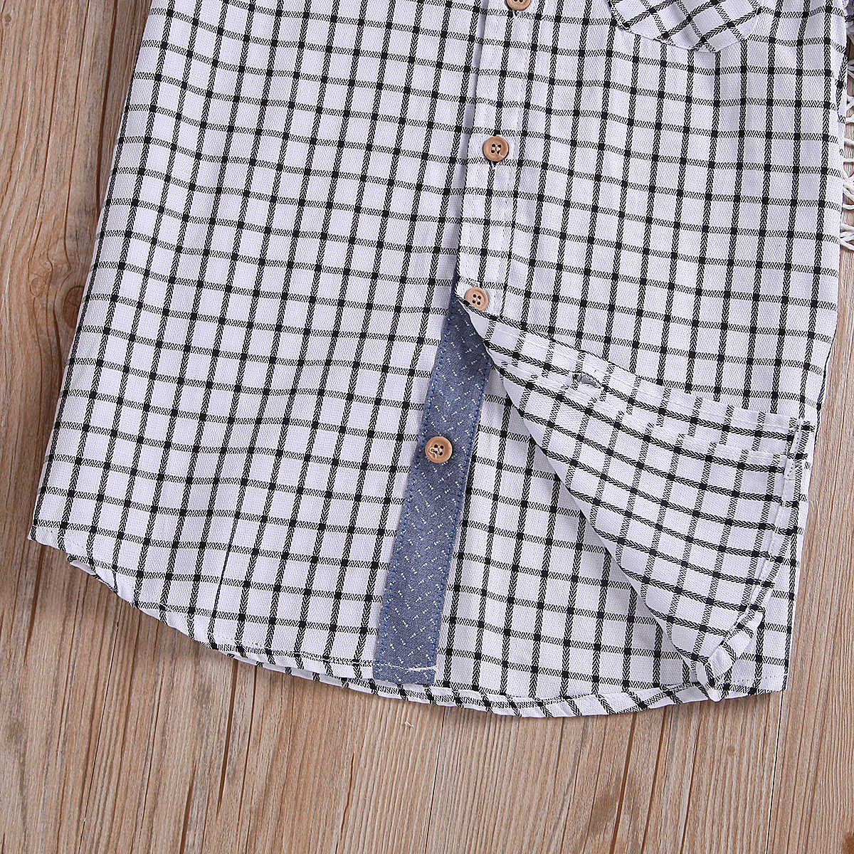 2019 Summer Kids Baby Boys Plaid Tops Shirts School Polo Shirt Button Blouse Clothes Cotton Children's Clothing 3-10Y