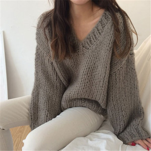 Image 3 - RUGOD Casual winter women clothes Fashion V neck long sleeve pullover sweater office lady pullovers jumper pull femme hiver