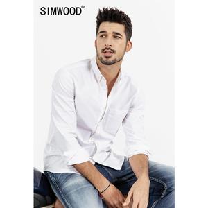 Image 3 - Simwood 綿 100% 古典的なカジュアルな胸ポケット 2020 春夏新高品質シャツ 190068