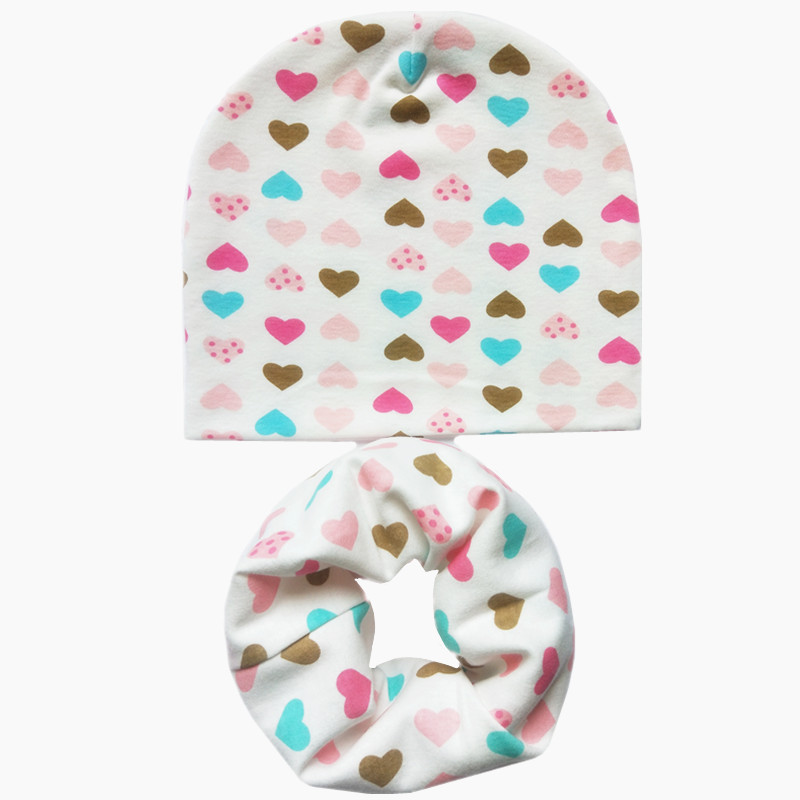 New Cotton Baby Bibs Hat Set Boys Girls Hat Neck Scarf Spring Soft Neckerchief Baby O Ring Collar Child Kids Beanies Scarf Sets