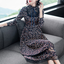 Lace patchwork chiffon print pleated dress 2019 new stand neck women spring long sleeve party dress недорого