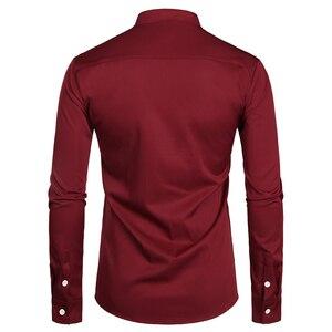 Image 2 - 와인 레드 슬림 맞는 드레스 셔츠 남자 브랜드 줄무늬 칼라 긴 소매 chemise 옴므 캐주얼 버튼 다운 셔츠 busienss 남자 S 2XL