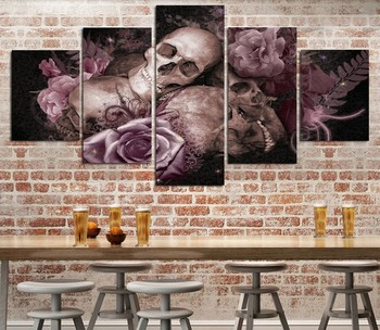 5 Pieces Skull Mask Gothic Roses Home Wall Decor Canvas Picture Art
