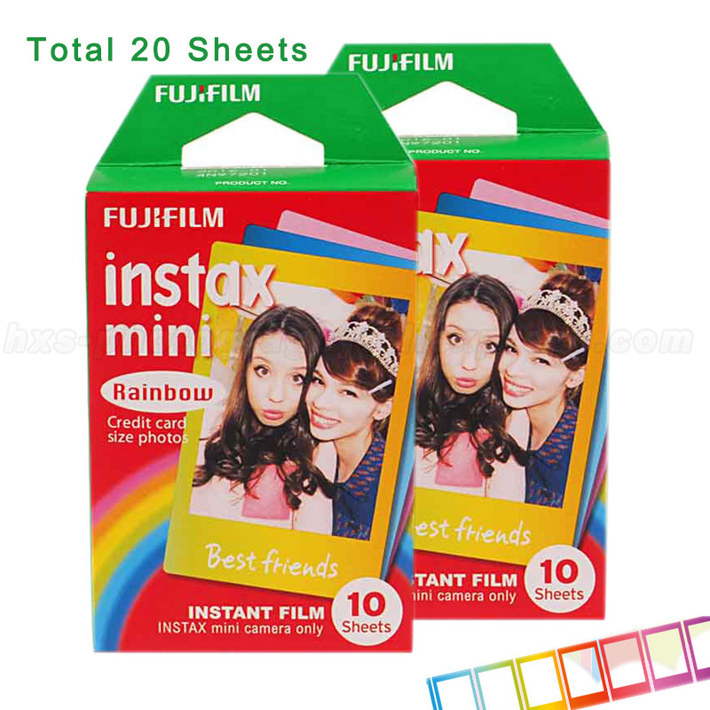 Fujifilm Instax Mini 9 Film 3 Inch <font><b>Photo</b></font> Paper Rainbow 20p cs for 7S 25 8 50s 90 Instax Mini Camera and SHARE <font><b>Smartphone</b></font> <font><b>Printer</b></font>