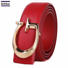 2018 brand designer women belt, fashion letter smooth buckle leather belt ladies men, luxury unisex