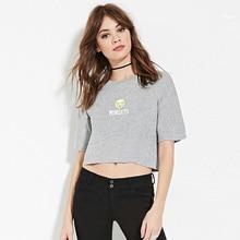 Women Funny Expression MONDAYS Printed Cropped T Shirt Short Sleeve Crop Shirt Casual Blusas Femininas European Tops E927