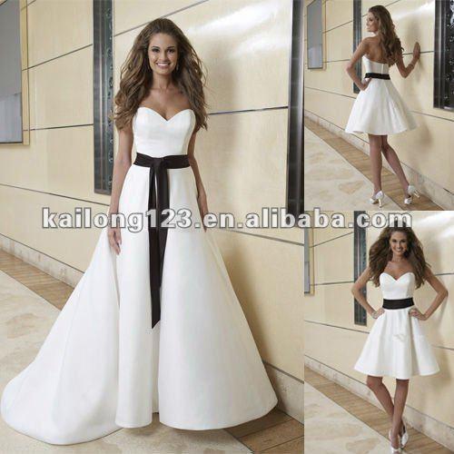 Black Wedding Dress With Detachable Train: Elegant Sweetheart Detachable Train Black Sash White Satin
