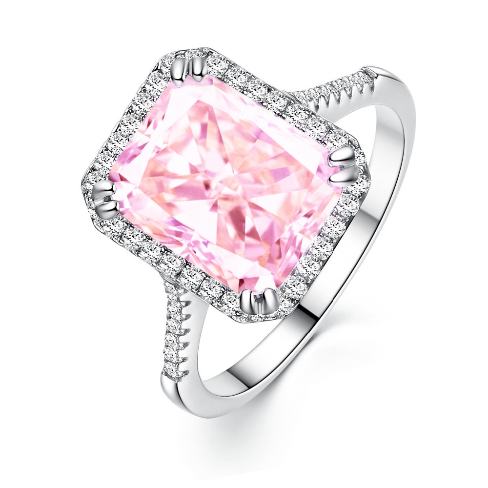 Fashion 925 sterling silver Wedding Band sweet Pink AAA CZ Ring ...