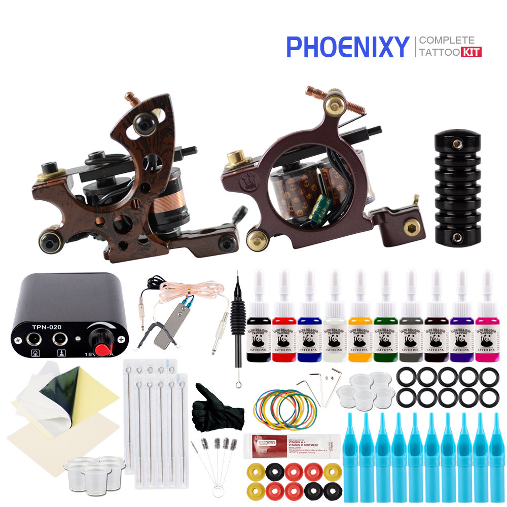 Complete Tattoo Kit 2 Tattoo Machines Gun Set 10Pcs Ink Power Supply Grips Body Art Tools Set Tattoo Permanent Makeup Tattoo setComplete Tattoo Kit 2 Tattoo Machines Gun Set 10Pcs Ink Power Supply Grips Body Art Tools Set Tattoo Permanent Makeup Tattoo set