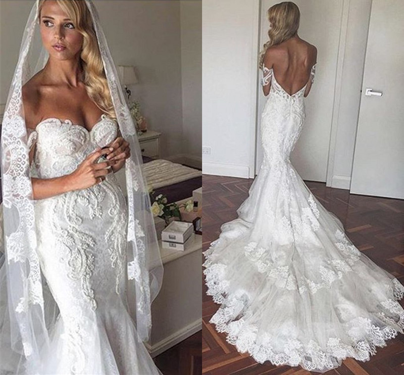 Luxury Wedding Dress 2019 Off The Shoulder Ivory Lace Appliques Beaded Mermaid Wedding Dress with Long Veil