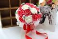 2015 ramo de la boda de dama de honor nupcial blanco / rosa / rojo / azul / púrpura colorida flor rosa Artificial novia ramos buque de noiva