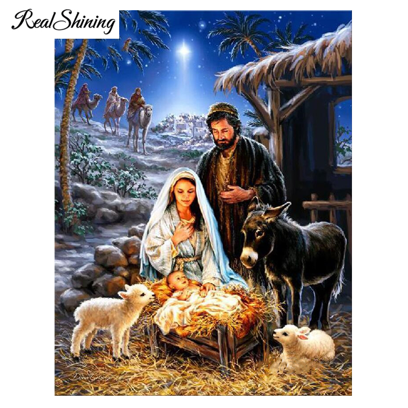 REALSHINING Jesus new born 5D diy diamond embroidery home decor full mosaic square handmade diamond painting cross stitch FS956
