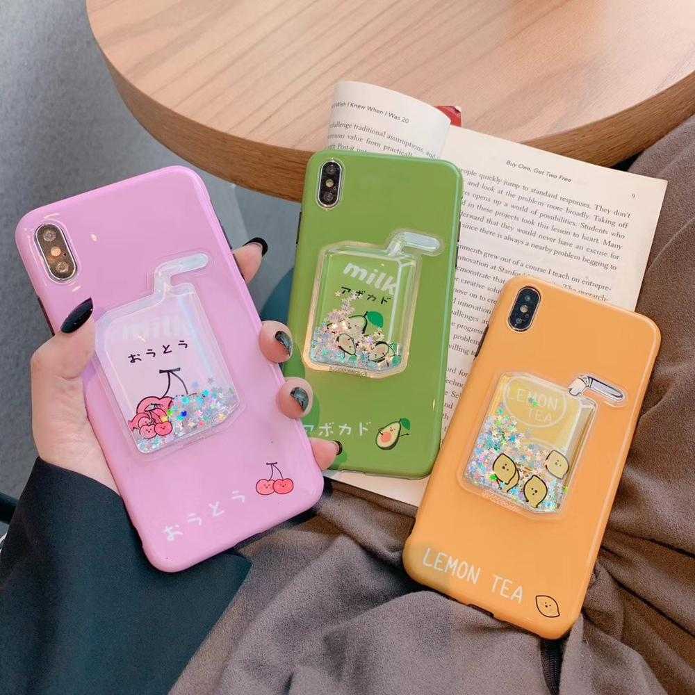 Korean Fashion Avocado Mango Cherry Dynamic Shining Star Milk Smoothing Silicone cover for iphone MAX XS XR 7 8plus phone cases