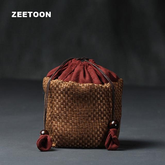Japanese Style Hand Woven Bamboo Portable Travel Tea Set Storage Bag