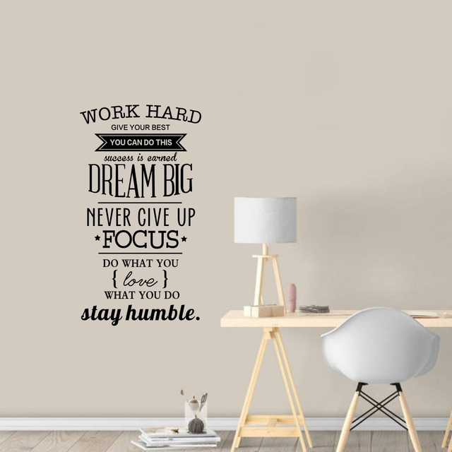 Work Hard Give Your Best Inspirational Quote Vinyl Wall Stickers