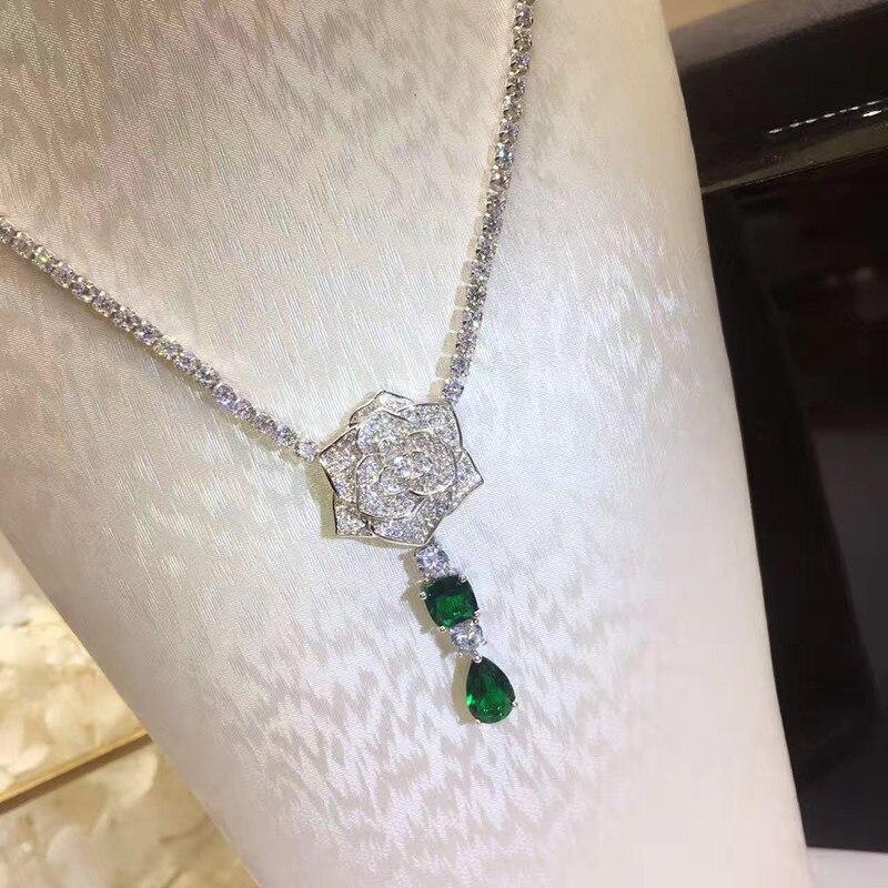 Collar de fiesta de Zirconia cúbica 3A de joyería de cobre de moda de diseñador-in Collares de cadena from Joyería y accesorios    1